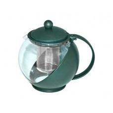Чайник заварочный 1,25л с фильтром, жаропр. стекло/пласт. 3 цв.$