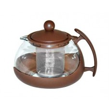 Чайник заварочный 750мл с фильтром жаропр.стекло/пласт. 3 цв.$