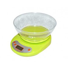 Весы кухонные 5 кг электрон. ЖК-дисплей, с пласт.чашей 1 л, 4 цв.$