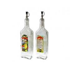 Бутылка д/олив.масла LARANGE 0,5л с дозатором и рецептом чеснока стекло