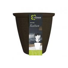 Кашпо INGREEN Rattan D185мм 3,0л с вн. горшком 1,5л горький шоколад