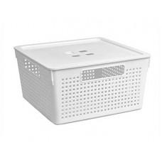 Коробка для хранения VIOLET Лофт 11,0л с крышкой белый