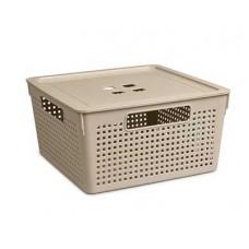 Коробка для хранения VIOLET Лофт 11,0л с крышкой латте