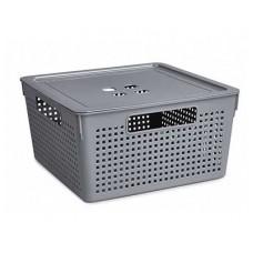 Коробка для хранения VIOLET Лофт 11,0л с крышкой серый