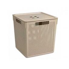 Коробка для хранения VIOLET Лофт 23,0л с крышкой латте